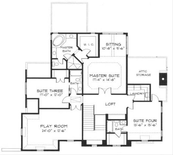 European Floor Plan - Upper Floor Plan Plan #413-108