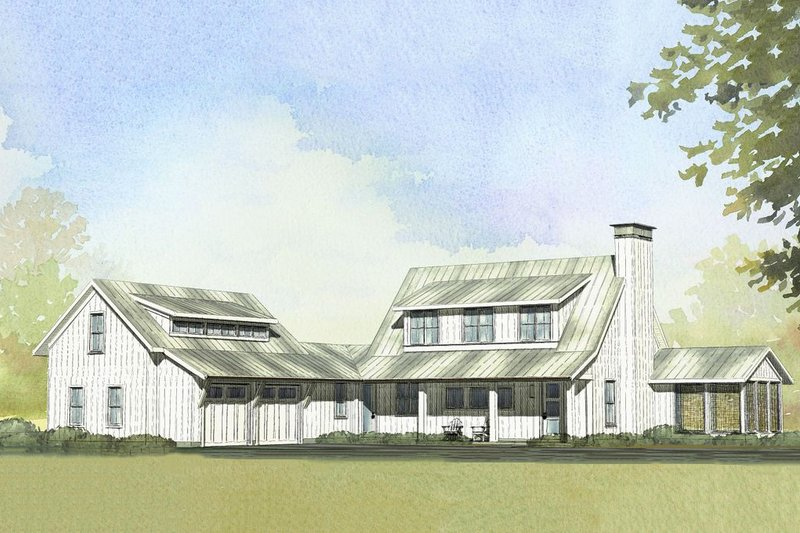 Farmhouse Style House Plan - 3 Beds 2.5 Baths 2218 Sq/Ft Plan #901-103 Exterior - Front Elevation