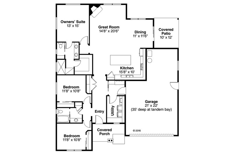 Craftsman Floor Plan - Main Floor Plan Plan #124-1030