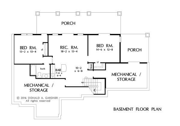 Ranch Floor Plan - Lower Floor Plan Plan #929-1048