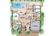 Mediterranean Style House Plan - 4 Beds 3.5 Baths 4454 Sq/Ft Plan #27-552 Floor Plan - Main Floor Plan