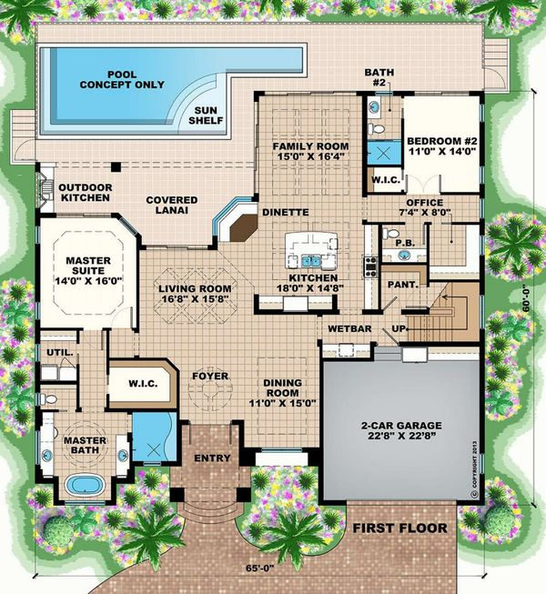 Mediterranean Floor Plan - Main Floor Plan Plan #27-552