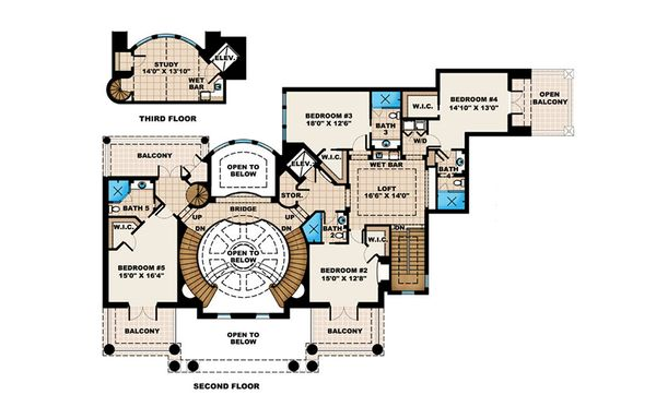 Southern Floor Plan - Upper Floor Plan #27-534