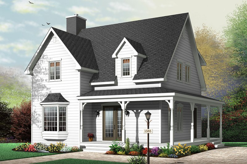 Traditional Style House Plan - 3 Beds 2 Baths 1502 Sq/Ft Plan #23-677 Exterior - Front Elevation
