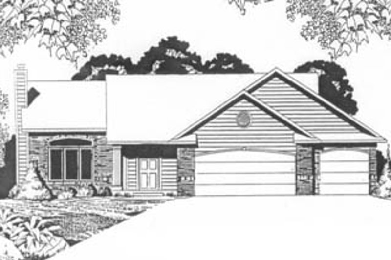 Traditional Style House Plan - 2 Beds 2 Baths 1254 Sq/Ft Plan #58-124 Exterior - Front Elevation