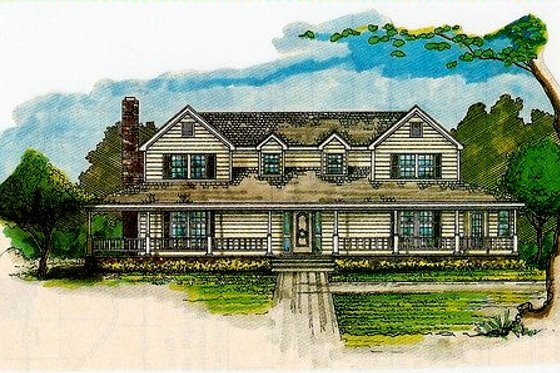 Country Exterior - Front Elevation Plan #405-200
