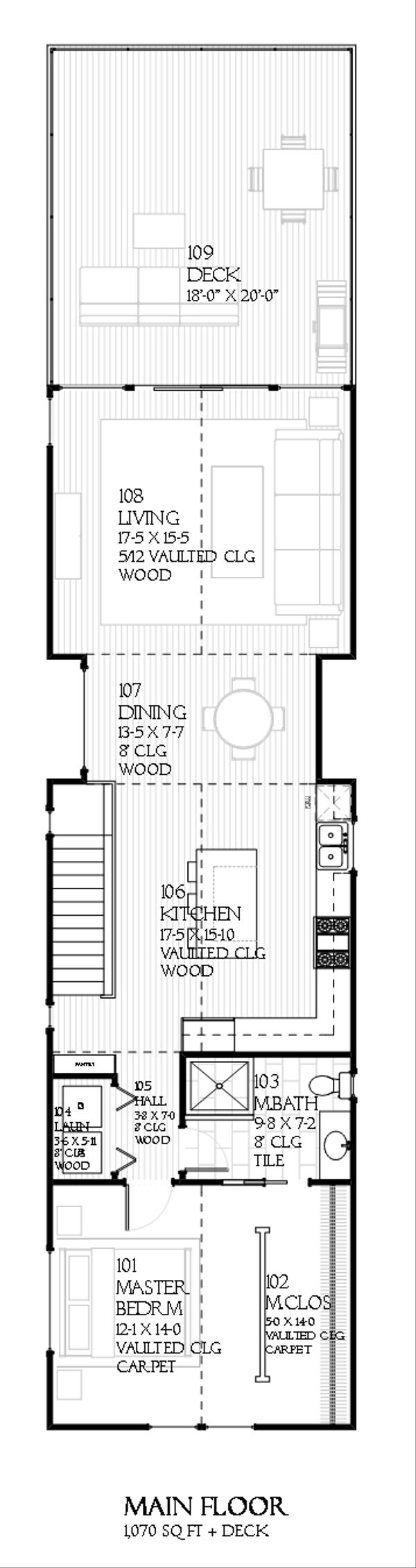 Contemporary house plan, Upper level floor plan of plan 901-25
