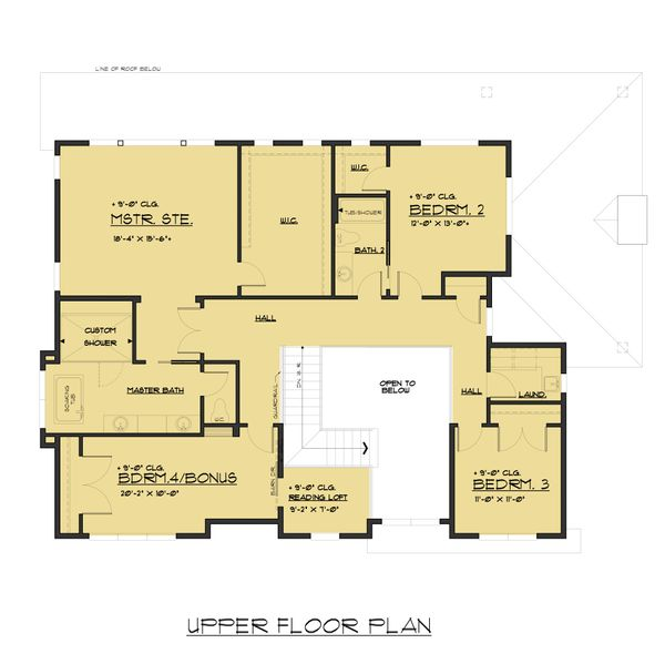 Contemporary Floor Plan - Upper Floor Plan Plan #1066-51