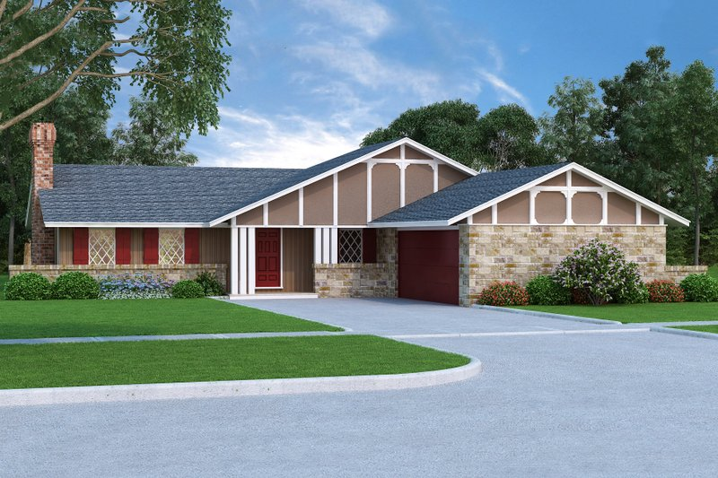 Ranch Exterior - Front Elevation Plan #45-375