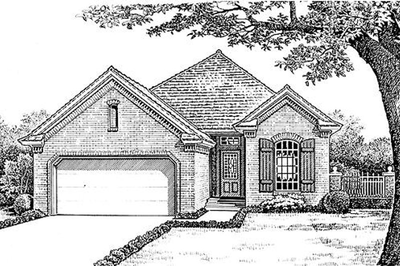 European Style House Plan - 3 Beds 2 Baths 1427 Sq/Ft Plan #310-892 Exterior - Front Elevation