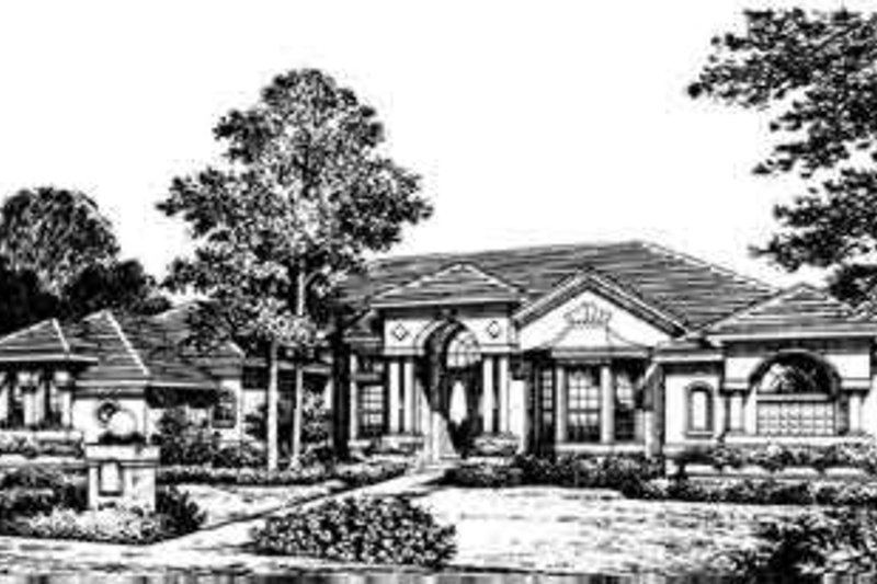 European Style House Plan - 4 Beds 3.5 Baths 3400 Sq/Ft Plan #135-123 Exterior - Front Elevation
