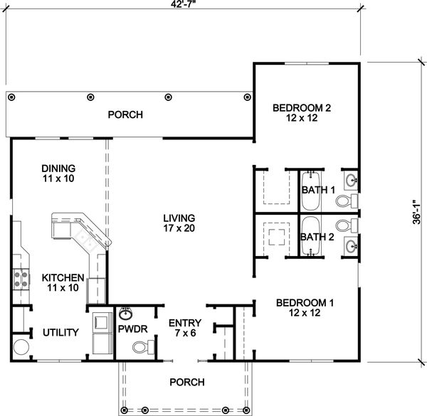 Country Style House Plan - 2 Beds 2.5 Baths 1256 Sq/Ft Plan #140-163 Floor Plan - Main Floor Plan