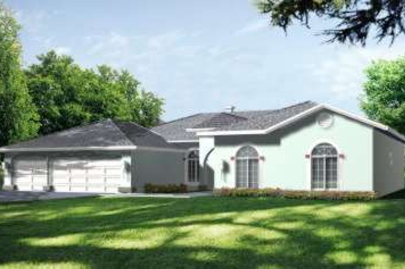 Adobe / Southwestern Style House Plan - 4 Beds 2.5 Baths 2603 Sq/Ft Plan #1-628 Exterior - Front Elevation