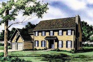 Colonial Exterior - Front Elevation Plan #405-104
