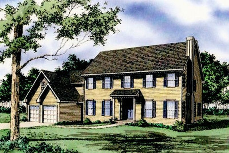 Colonial Style House Plan - 4 Beds 3.5 Baths 2965 Sq/Ft Plan #405-104 Exterior - Front Elevation