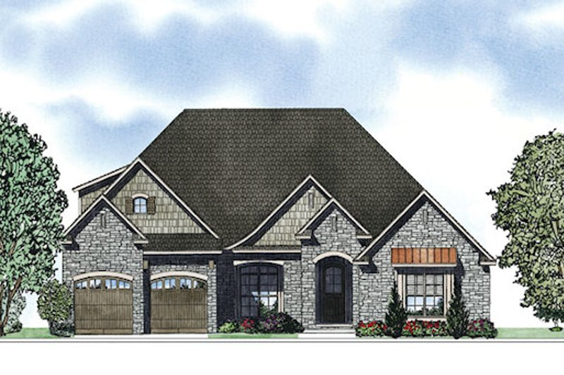 European Style House Plan - 4 Beds 2 Baths 2094 Sq/Ft Plan #17-2417 Exterior - Front Elevation