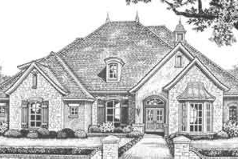 European Style House Plan - 4 Beds 3.5 Baths 3007 Sq/Ft Plan #310-323 Exterior - Front Elevation