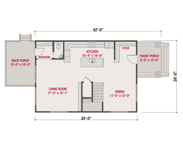 Craftsman Floor Plan - Main Floor Plan Plan #461-56
