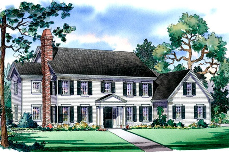 Traditional Style House Plan - 4 Beds 4.5 Baths 4250 Sq/Ft Plan #490-9 Exterior - Front Elevation