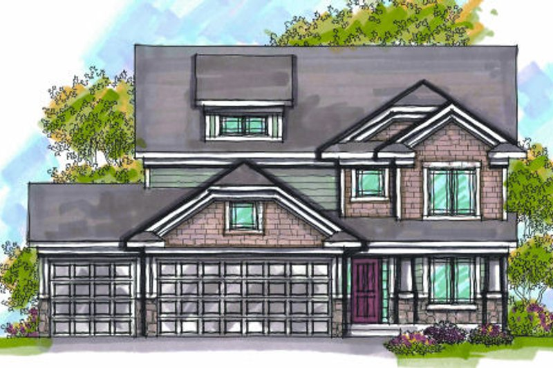 Craftsman Exterior - Front Elevation Plan #70-952