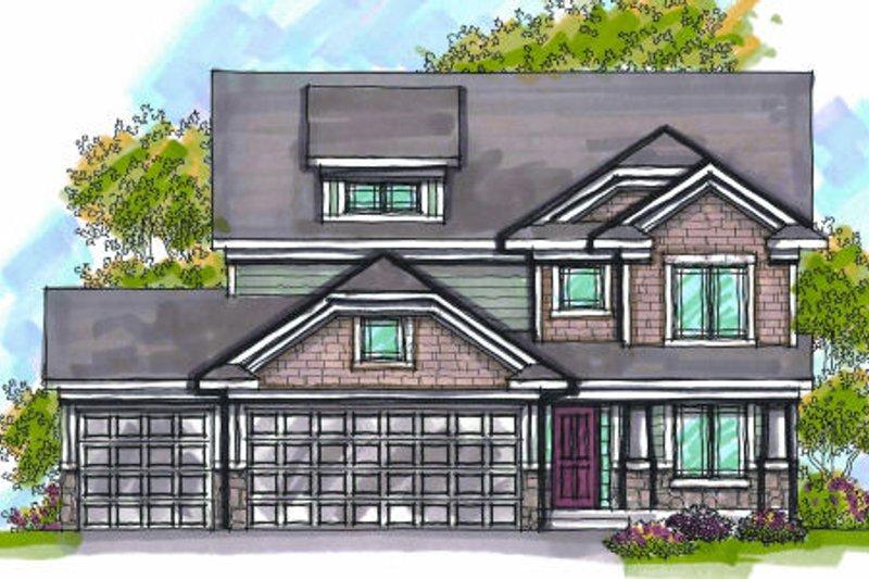 Architectural House Design - Craftsman Exterior - Front Elevation Plan #70-952