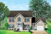 Colonial Style House Plan - 4 Beds 2.5 Baths 2579 Sq/Ft Plan #25-2196 Exterior - Front Elevation