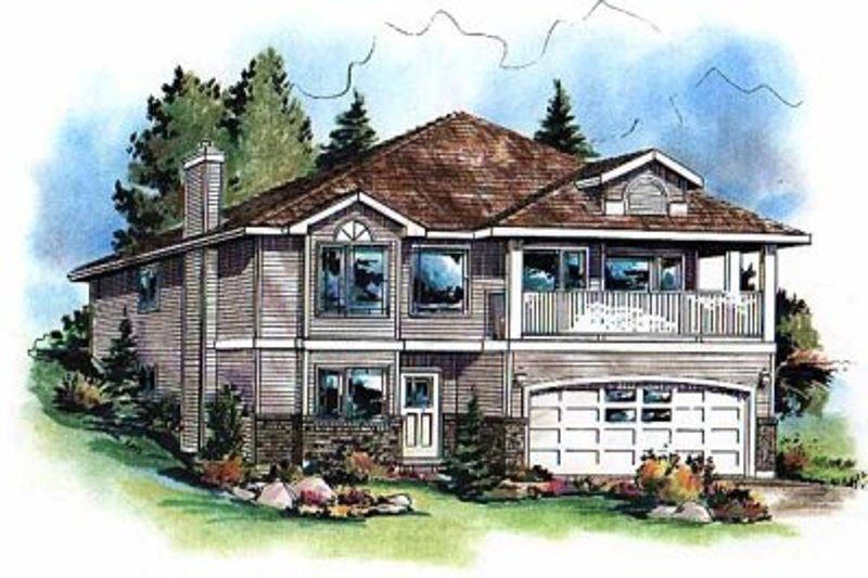 Traditional Style House Plan - 3 Beds 2 Baths 1602 Sq/Ft Plan #18-1007 Exterior - Front Elevation