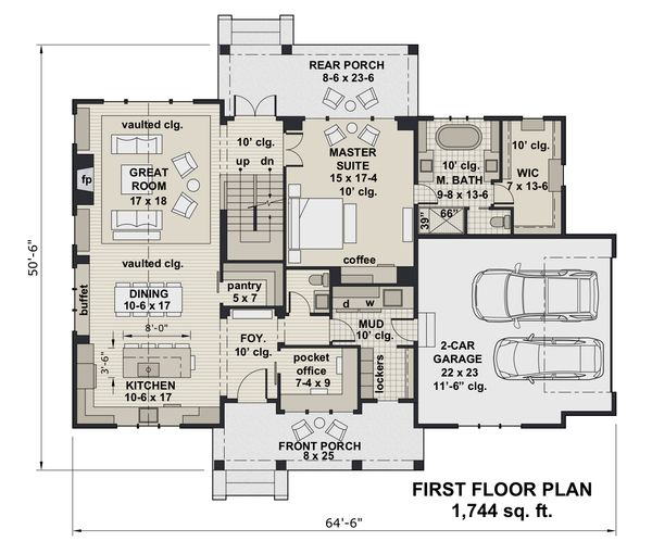 Architectural House Design - Farmhouse Floor Plan - Main Floor Plan #51-1152