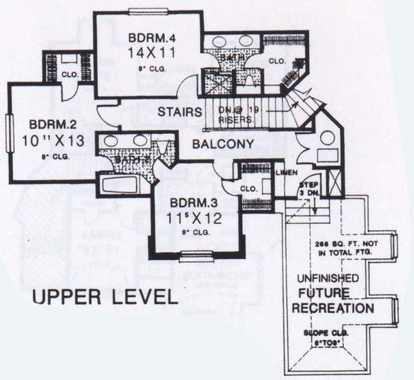 Colonial Floor Plan - Upper Floor Plan #310-913