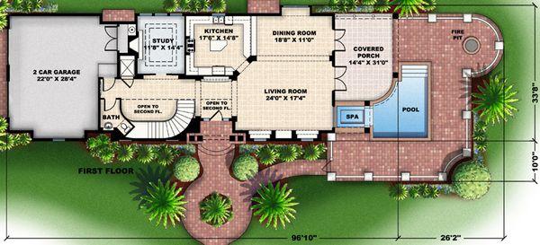 Colonial Floor Plan - Main Floor Plan Plan #27-447