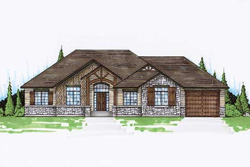Colonial Exterior - Front Elevation Plan #5-237