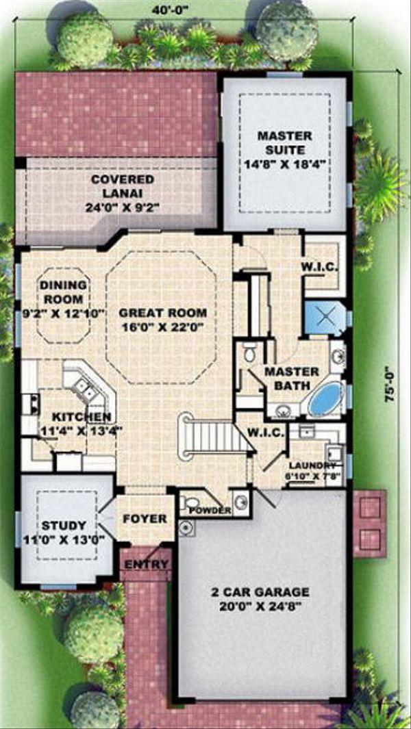 European Floor Plan - Main Floor Plan Plan #27-347