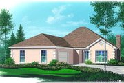 European Style House Plan - 3 Beds 2.5 Baths 1700 Sq/Ft Plan #15-140 Exterior - Front Elevation