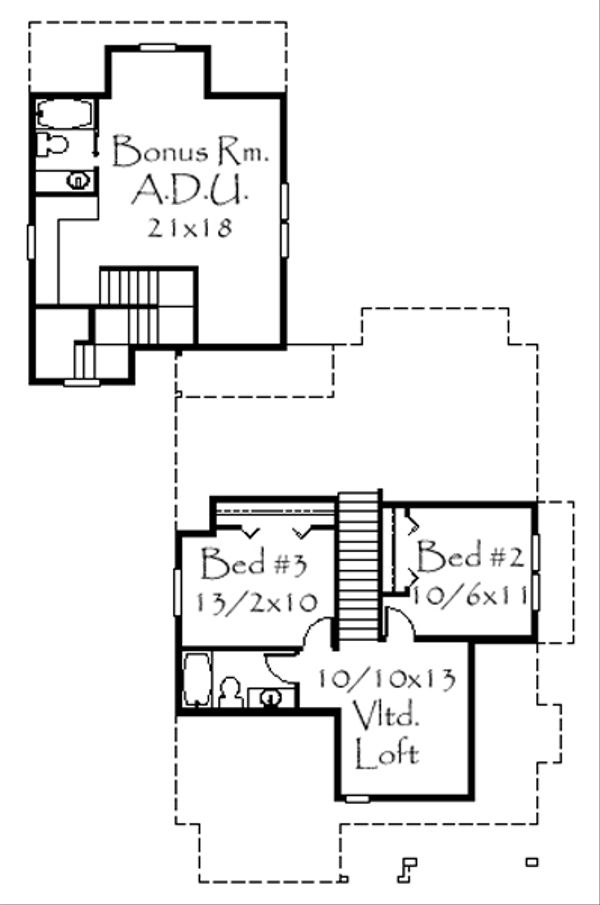 European Floor Plan - Upper Floor Plan Plan #509-6