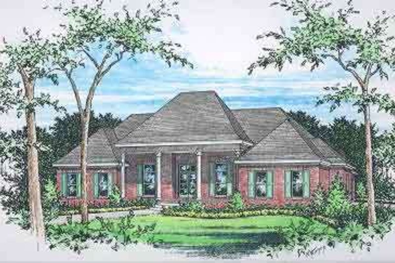 European Style House Plan - 4 Beds 3.5 Baths 2919 Sq/Ft Plan #15-294 Exterior - Front Elevation