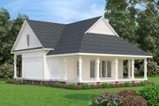 Cottage Style House Plan - 1 Beds 1.5 Baths 902 Sq/Ft Plan #45-581 Exterior - Rear Elevation