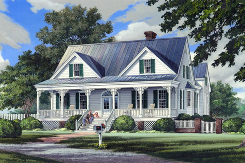 Southern Style House Plan - 3 Beds 3.5 Baths 2544 Sq/Ft Plan #137-265 Exterior - Front Elevation