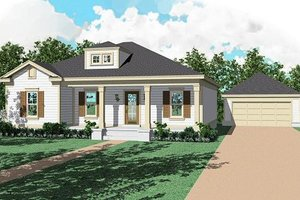 Southern Exterior - Front Elevation Plan #81-222