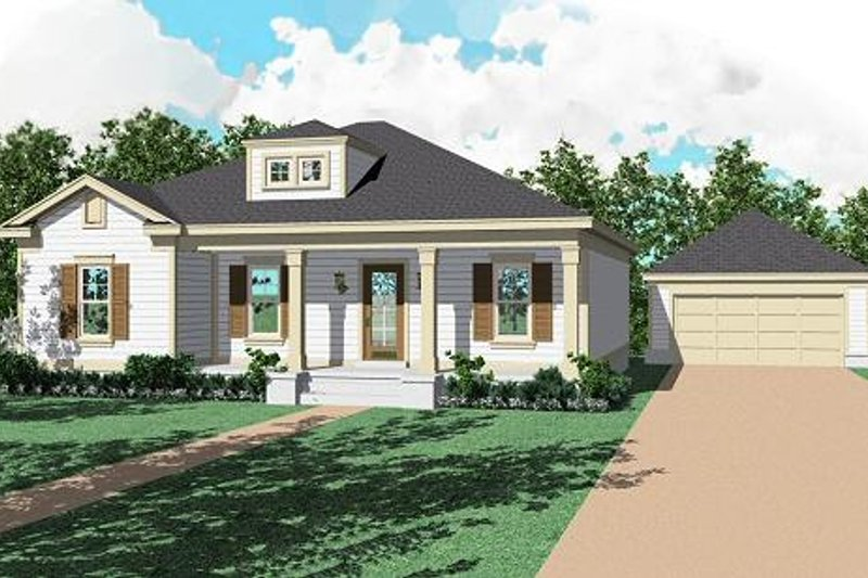 Southern Style House Plan - 3 Beds 2 Baths 1437 Sq/Ft Plan #81-222 Exterior - Front Elevation