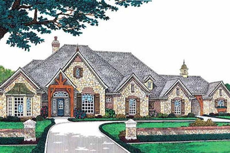 European Style House Plan - 4 Beds 4.5 Baths 3423 Sq/Ft Plan #310-230 Exterior - Front Elevation