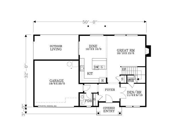 Home Plan - Craftsman Floor Plan - Main Floor Plan #53-654