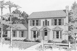 Colonial Exterior - Front Elevation Plan #112-111