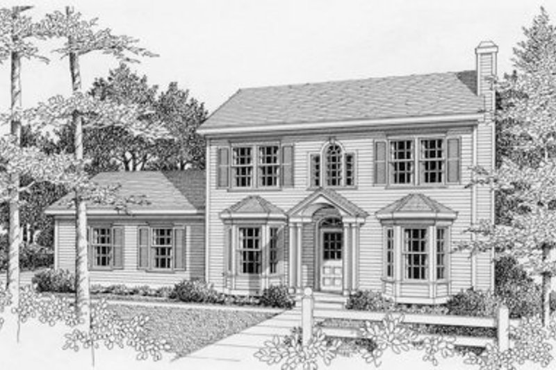 Colonial Style House Plan - 3 Beds 2.5 Baths 1439 Sq/Ft Plan #112-111 Exterior - Front Elevation