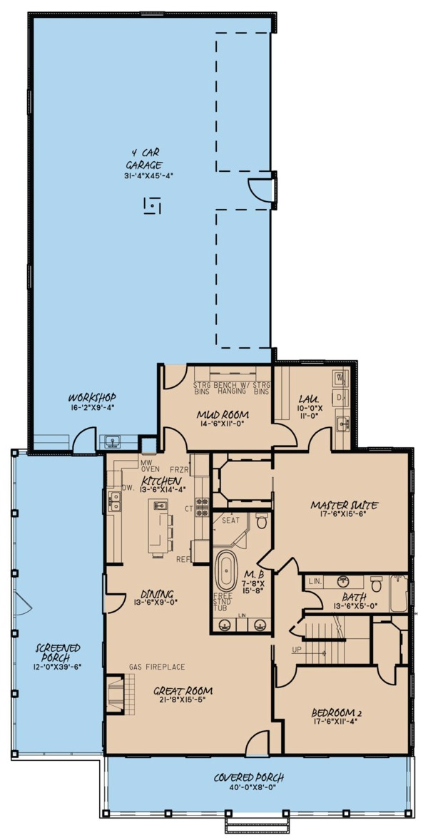 Farmhouse Floor Plan - Main Floor Plan Plan #923-67