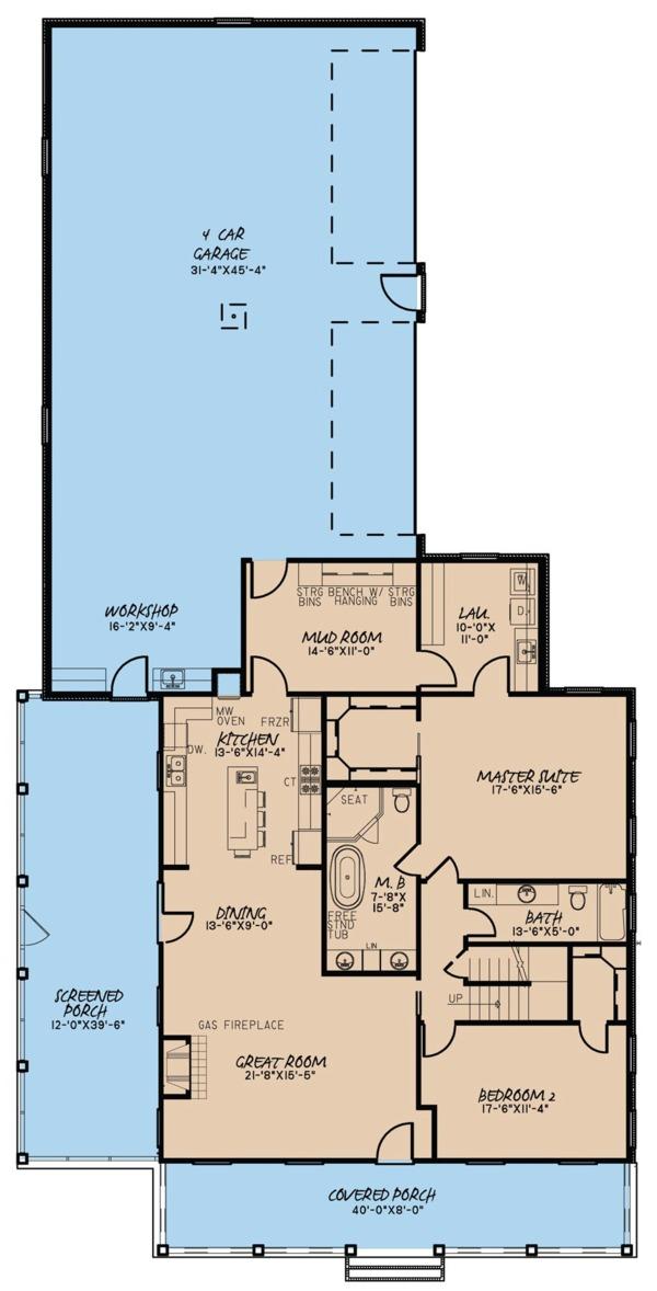Farmhouse Floor Plan - Main Floor Plan #923-67