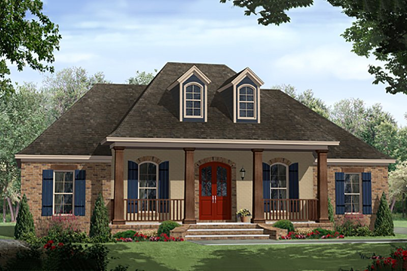Country Style House Plan - 3 Beds 2 Baths 1657 Sq/Ft Plan #21-393 Exterior - Front Elevation