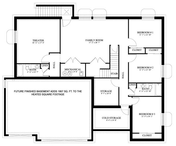 Traditional Floor Plan - Lower Floor Plan Plan #1060-46