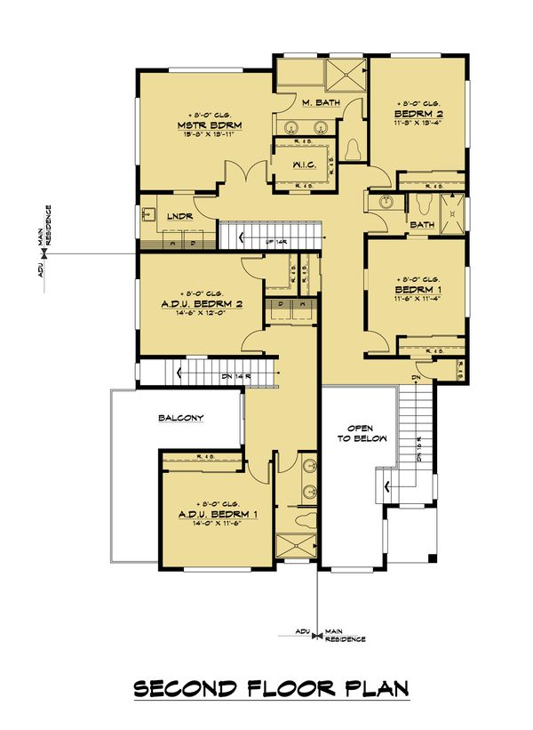 Contemporary Floor Plan - Upper Floor Plan #1066-113