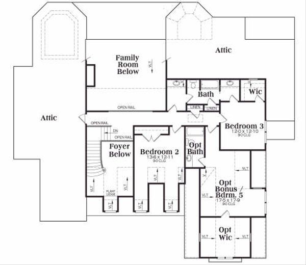 Craftsman Floor Plan - Upper Floor Plan Plan #419-132