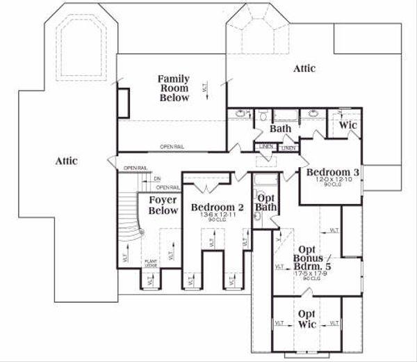 Craftsman Floor Plan - Upper Floor Plan Plan #419-132